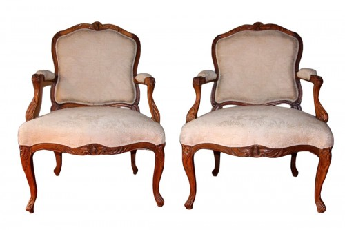 "French Suite of four flat back fauteuils  "" la Reine"", eighteenth century"
