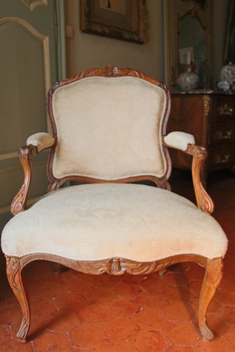 "Seating  - French Suite of four flat back fauteuils  "" la Reine"", eighteenth century"