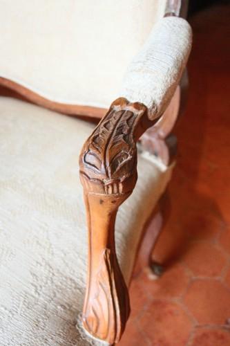 """Antiquités - French Suite of four flat back fauteuils  """" la Reine"""", eighteenth century"""