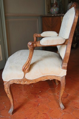 "Antiquités - French Suite of four flat back fauteuils  "" la Reine"", eighteenth century"