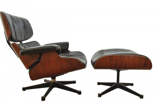 Fauteuil lounge chair et son ottoman, Charles et Ray Eames, Fabricant Herman Miller,