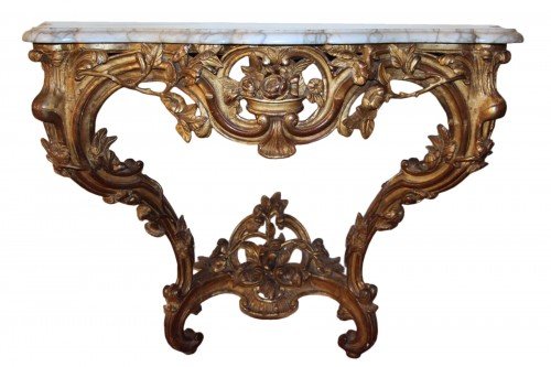 A french Provencal Giltwood and marble Console of Louis XV period
