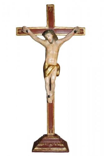 Crucifix in carved and polychrome wood, Italy, late 18th century