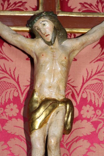 Crucifix in carved and polychrome wood, Italy, late 18th century -