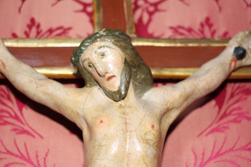 Crucifix in carved and polychrome wood, Italy, late 18th century - Louis XVI