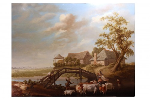 Animated landscape - Northern School, signed Jeregels dated 1704