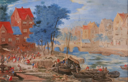 Gouache representing a boarding in a river port - Flemish school of the 17e century