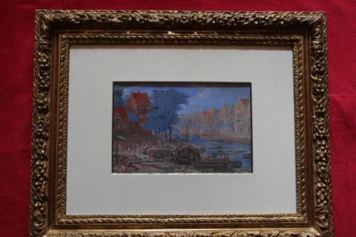 Gouache representing a boarding in a river port - Flemish school of the 17e century - Paintings & Drawings Style Louis XIV
