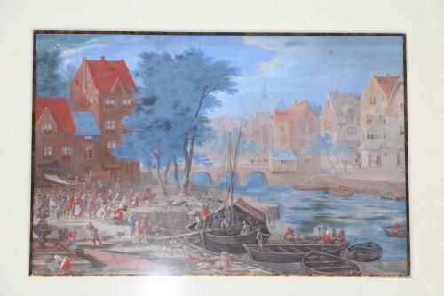 Gouache representing a boarding in a river port - Flemish school of the 17e century -