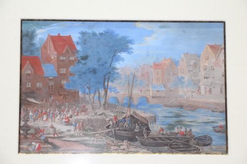 17th century - Gouache representing a boarding in a river port - Flemish school of the 17e century