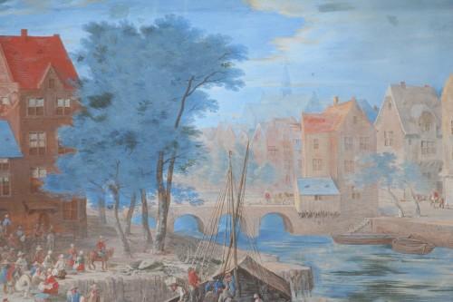 Gouache representing a boarding in a river port - Flemish school of the 17e century - Louis XIV