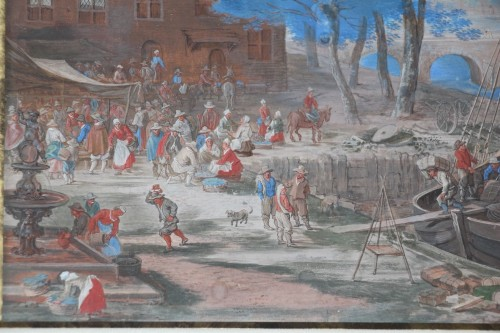 Antiquités - Gouache representing a boarding in a river port - Flemish school of the 17e century