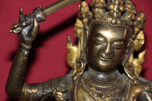 17th century - Buddha of wisdom with sword Manjushri out of gilded bronze, Tibet, at the end of XVIIe.