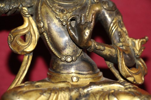 Buddha of wisdom with sword Manjushri out of gilded bronze, Tibet, at the end of XVIIe. - Louis XIV
