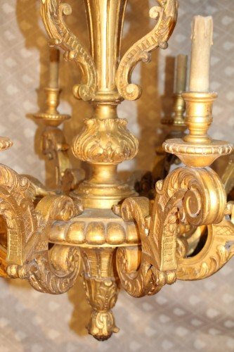 Lighting  - Gilded wood chandelier, circa 1850