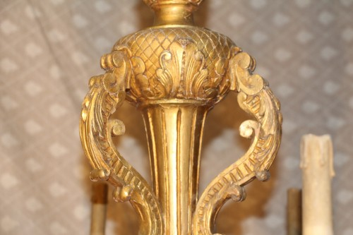 Gilded wood chandelier, circa 1850 -