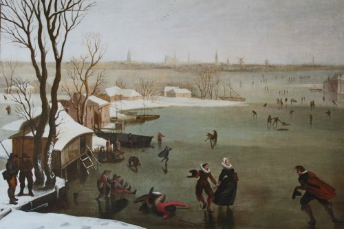 Skaters on a frozen lake - Dutch school of the late 16th century