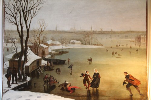 Skaters on a frozen lake - Dutch school of the late 16th century - Paintings & Drawings Style