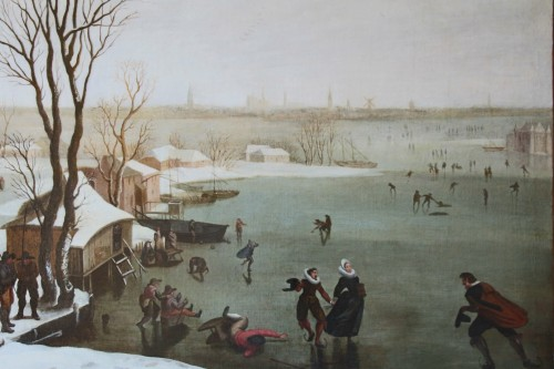 Skaters on a frozen lake - Dutch school of the late 16th century -
