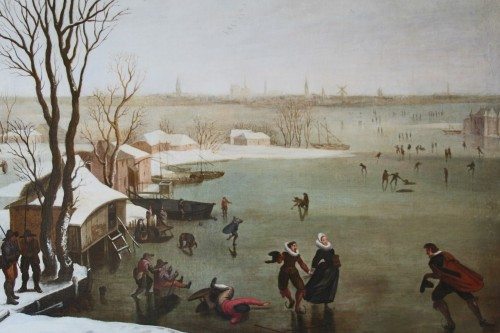 <= 16th century - Skaters on a frozen lake - Dutch school of the late 16th century