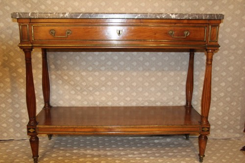 Furniture  - Console with blond mahogany top, Louis XVI period
