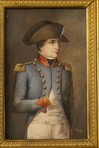 Objects of Vertu  - Napoleon Bonaparte in military dress, miniature on ivory circa 1800