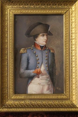 Napoleon Bonaparte in military dress, miniature on ivory circa 1800 - Empire