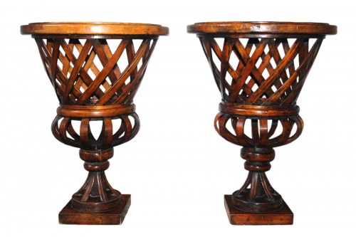 Important pair of Art Deco turned wooden basins circa 1940