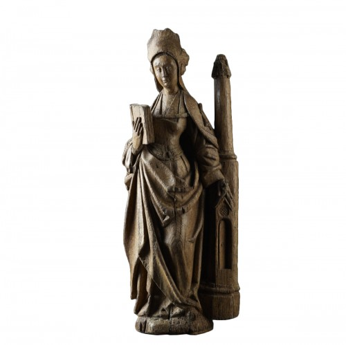A medieval sculpture of St. Barbara - early 16th Century - North of France