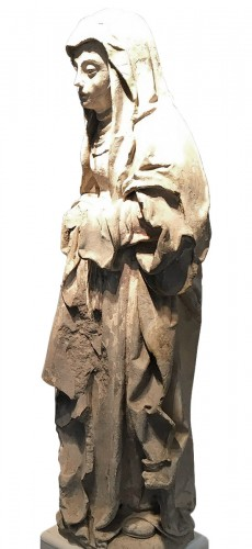 Sainte Brigitte limestone sculpture - circa 1530 - probably from Germany