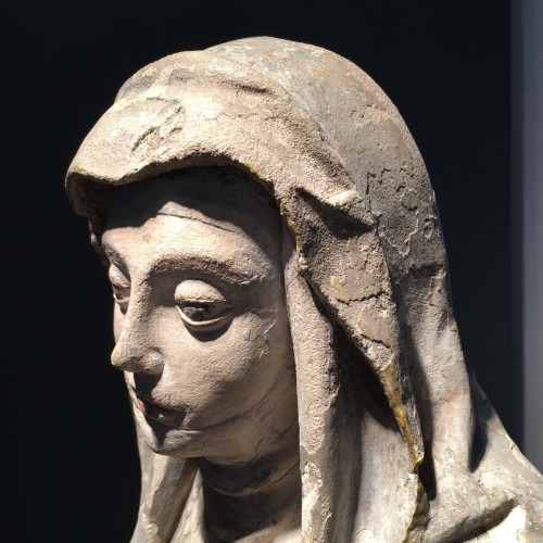 Sainte Brigitte limestone sculpture - circa 1530 - probably from Germany - Sculpture Style Middle age