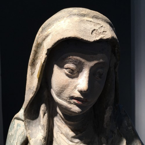 Sainte Brigitte limestone sculpture - circa 1530 - probably from Germany - Middle age