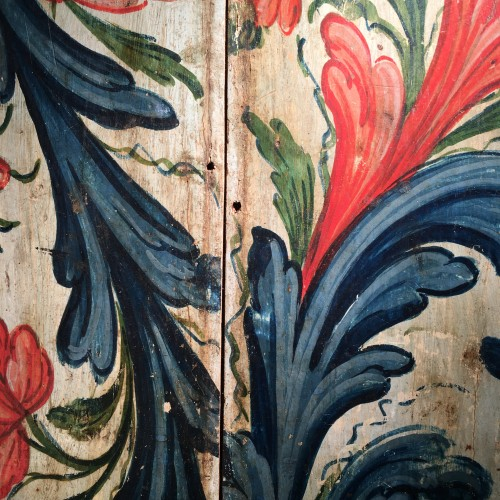 <= 16th century - A panel painted with flowers - circa 1600 - France