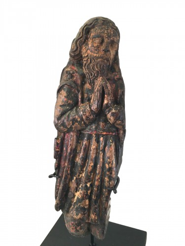 A wooden fragment of a Male Saint, ca. 1500, France