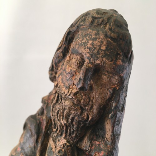 A wooden fragment of a Male Saint, ca. 1500, France -