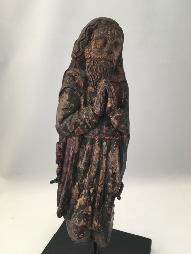 A wooden fragment of a Male Saint, ca. 1500, France - Middle age