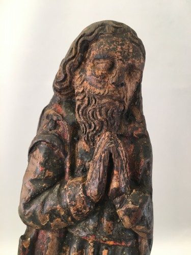 Middle age - A wooden fragment of a Male Saint, ca. 1500, France