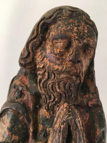 Antiquités - A wooden fragment of a Male Saint, ca. 1500, France