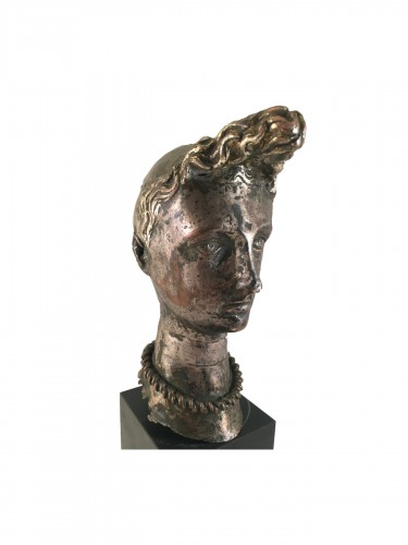 "A silver-plated head of ""Riquet with the Tuft"" - ca. 1750 - France"