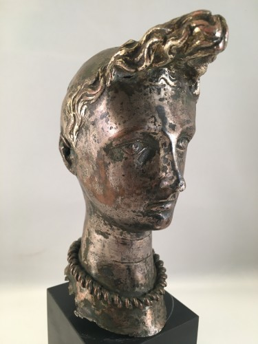 "A silver-plated head of ""Riquet with the Tuft"" - ca. 1750 - France  - Curiosities Style"