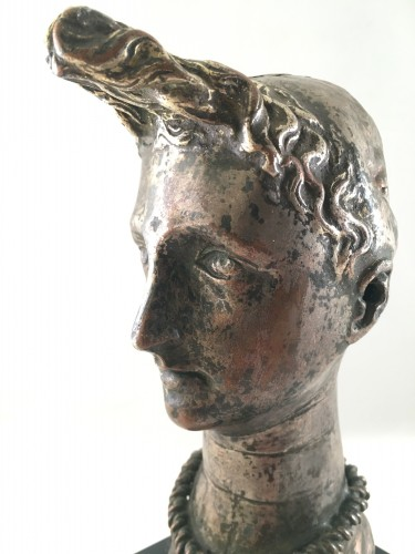 "Curiosities  - A silver-plated head of ""Riquet with the Tuft"" - ca. 1750 - France"