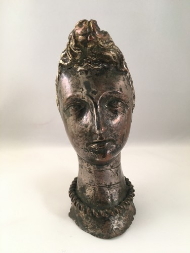 "Antiquités - A silver-plated head of ""Riquet with the Tuft"" - ca. 1750 - France"