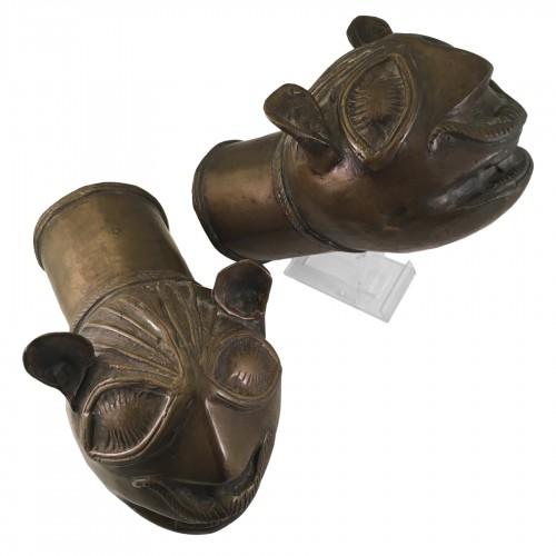 18th Century Bronze Palanquin Leopard Finials