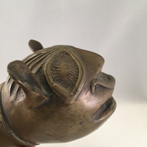 18th Century Bronze Palanquin Leopard Finials -