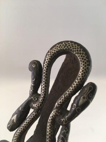 19th Century Java Surakarta court iron/silver inlay snake belt  - Asian Art & Antiques Style