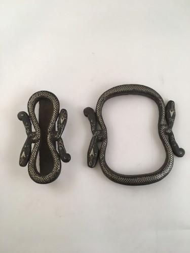 Asian Art & Antiques  - 19th Century Java Surakarta court iron/silver inlay snake belt