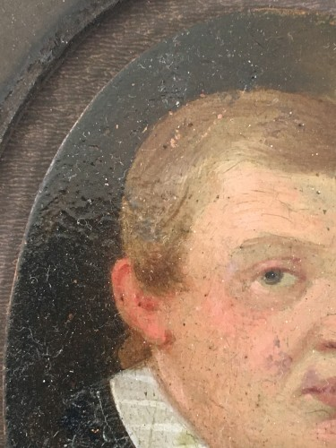 A small portrait, oil on copper, of a young man. Dated 1610.  -