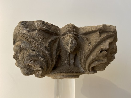 Antiquités - Limestone capital, carved on all sides - France - 15th Century