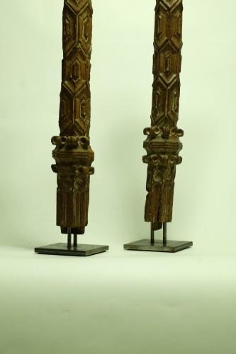 Antiquités - Two wooden pillars - 14th Century - France