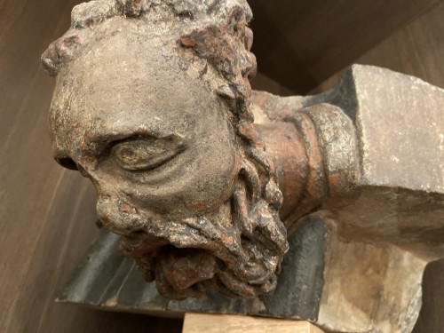 Architectural fragment in stone. A bearded man. 15th Century - France - Architectural & Garden Style Middle age